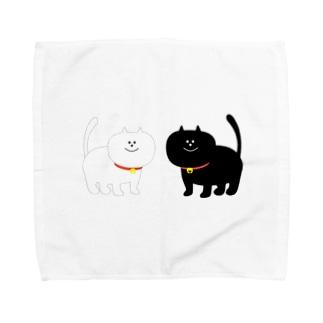 黒と白のネコ Towel handkerchiefs