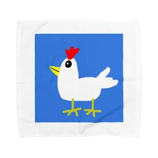 庭に2羽 Towel handkerchiefs