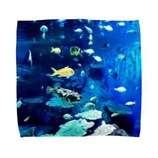 おさかなBlue Towel handkerchiefs