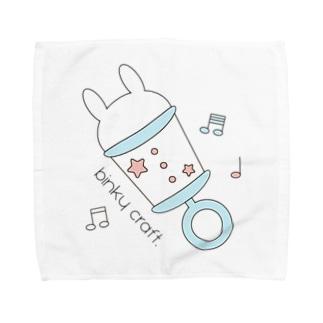 うさぎガラガラ(みずいろ) Towel handkerchiefs