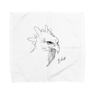 カンムリクマタカのクロッキー Towel handkerchiefs