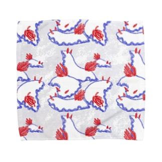 牛乳瓶色ウミウシ:群れ【白】 Towel handkerchiefs