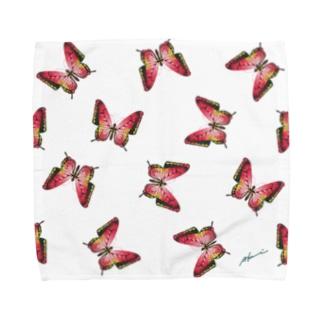 日曜生まれの赤い蝶々 Towel handkerchiefs