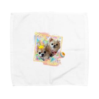 絵画風のチビちゃんとココちゃん Towel handkerchiefs