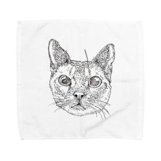 猫(よしお先生) Towel handkerchiefs