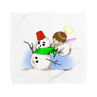 雪だるまと仲良し天使ちゃん Towel handkerchiefs
