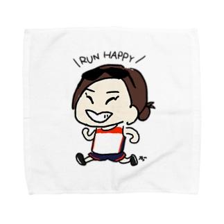 RUN HAPPYタオルハンカチ Towel handkerchiefs