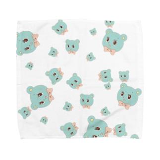 レトロくまさん(総柄) Towel handkerchiefs