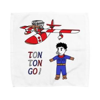 豚人イラストのパンダ武島の豚々号(とんとんごう)で行こう! Towel handkerchiefs