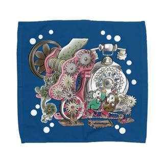 福くるくるサイクル仕掛けまんまちょん〈青〉 Towel handkerchiefs