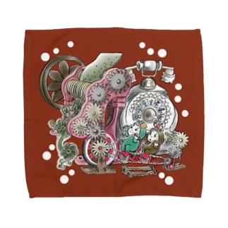 福くるくるサイクル仕掛けまんまちょん〈赤〉 Towel handkerchiefs