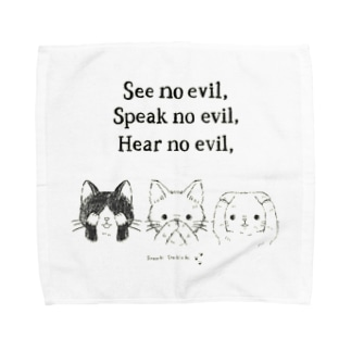 見ニャい、言わニャい、聞かニャい(黒線) Towel handkerchiefs