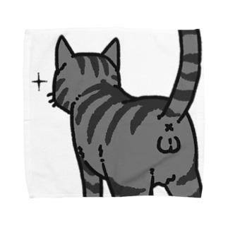ねこけつω(サバトラ、アップ) Towel handkerchiefs