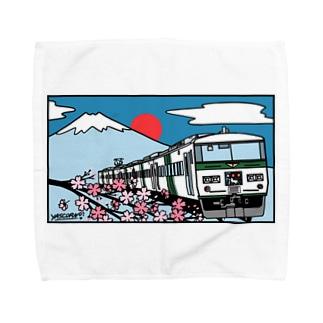 「踊り子」185系と富士山、桜 イラスト Towel handkerchiefs