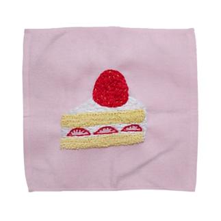 刺繍で作ったショートケーキ Towel handkerchiefs