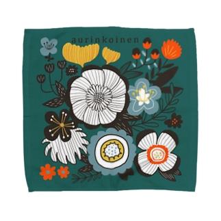 北欧風花柄 グリーン Towel handkerchiefs
