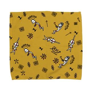 宇宙人と踊る人 イエロー Towel handkerchiefs