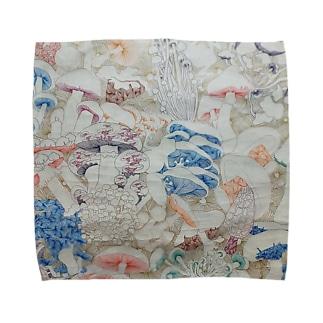 きのこ線描き Towel handkerchiefs