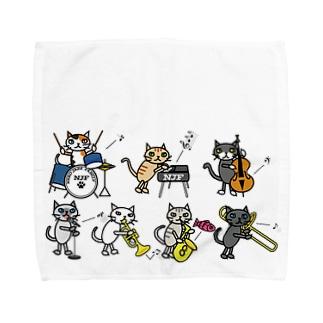 ねこジャズファミリー(横) Towel handkerchiefs