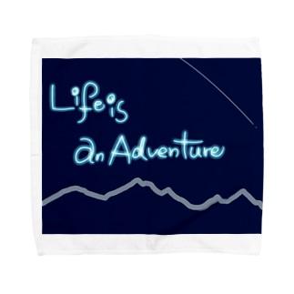 Life is an adventure!(山の夜空ver.) Towel handkerchiefs