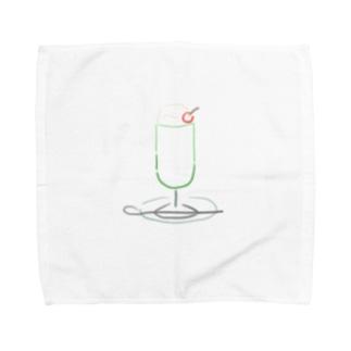 クリームソーダ(もじ) Towel handkerchiefs