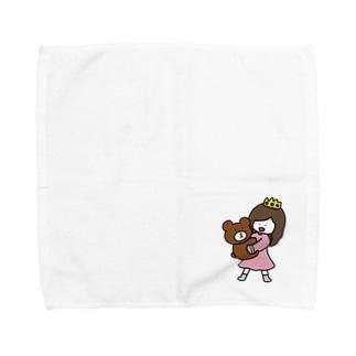 くまと女の子 Towel handkerchiefs