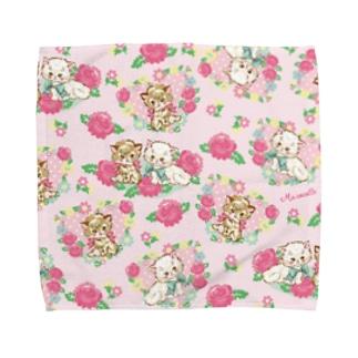 レトロフラワーキャットPK Towel handkerchiefs