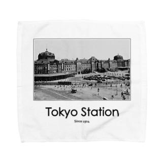 ヴィンテージ写真 戦前の東京駅 (モノクロフォト) Towel handkerchiefs