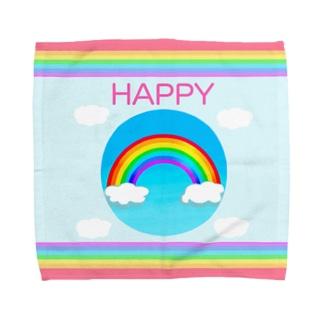 【虹色HAPPYレインボー】「HAPPY」 タオルハンカチ