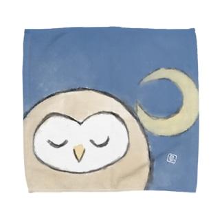 まるっこいメンフクロウ-三日月- Towel handkerchiefs