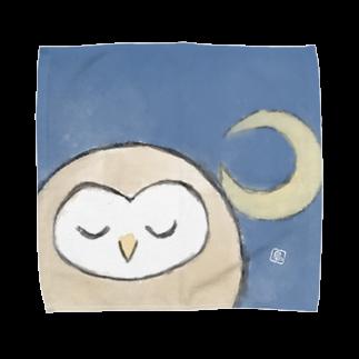 しののまるっこいメンフクロウ-三日月- Towel handkerchiefs