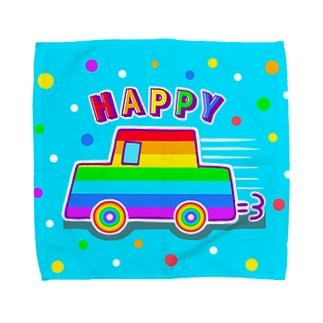 【虹色HAPPYレインボー】「にじカー(水色)」 タオルハンカチ
