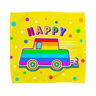 【虹色HAPPYレインボー】「にじカー(黄色)」 タオルハンカチ