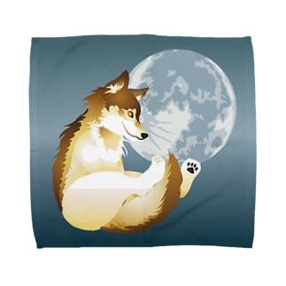 月に狼 タオルハンカチ