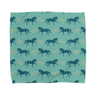 Blue Horse&Shoes Towel handkerchiefs