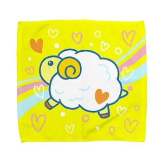 【カワイイ動物】「もふもふ ヒツジ」(黄色) タオルハンカチ