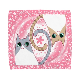 ゆるい系の猫-もも色- Towel handkerchiefs
