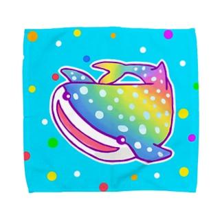 にじジンベエザメ(水色)【虹色HAPPYレインボー】 Towel handkerchiefs