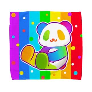 にじパンダ(虹色)【虹色HAPPYレインボー】 Towel handkerchiefs