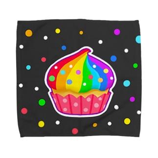 【虹色HAPPYレインボー】「にじカップケーキ」(黒) タオルハンカチ