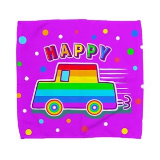 【虹色HAPPYレインボー】「にじカー(紫)」 タオルハンカチ
