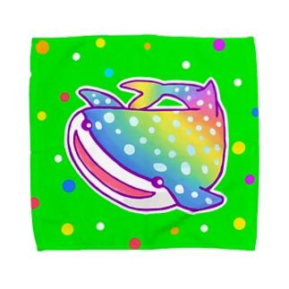 【虹色HAPPYレインボー】「にじジンベエザメ」(緑) タオルハンカチ