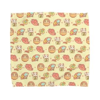 縁起物!開運!(黄色)【水星人のスイスイちゃん 日本で遊ぶ!】 Towel handkerchiefs
