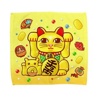 開運!金運!縁起物!【両手 招き猫☆】 Towel handkerchiefs