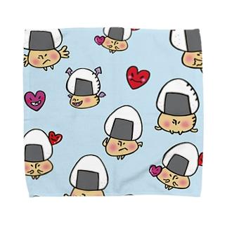 おむすびきのこさん(水色)タオルハンカチ Towel handkerchiefs