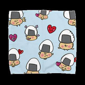 イラストレーター yasijunのおむすびきのこさん(水色)タオルハンカチ Towel handkerchiefs