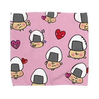 おむすびきのこさん(ピンク)タオルハンカチ Towel handkerchiefs