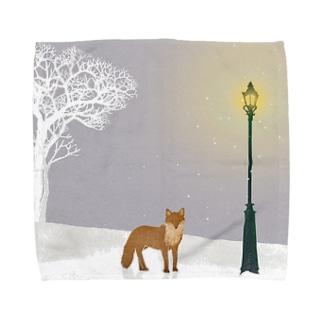 雪と街灯 Towel handkerchiefs