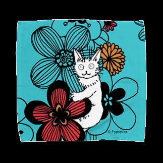 PygmyCat suzuri店のPygmycat(青) Towel handkerchiefs