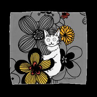 PygmyCat suzuri店のPygmycat(グレー) Towel handkerchiefs